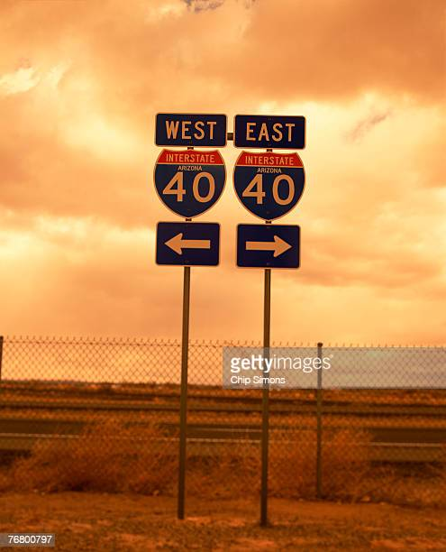 east i40 and west i40 interstate road signs - number 40 stock photos and pictures