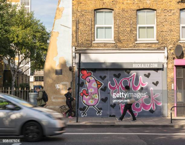 east london city life - shoreditch stock photos and pictures