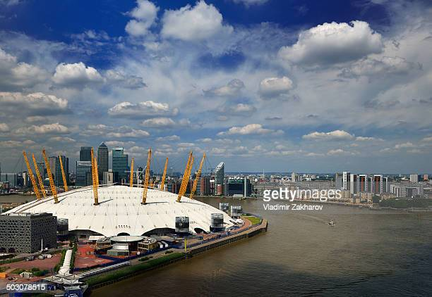 East London- Docklands and North Greenwich district, The O2 arena formerly known as Millennium Dome, skyscrapers of Canary Wharf and River Thames...
