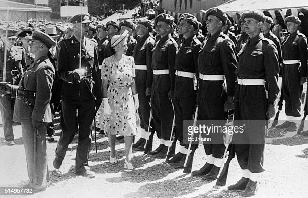 East London South Africa Princess Elizabeth Her Royal Highness Approves Escorted by a stalwart officer with drawn sword Princess Elizabeth inspects...