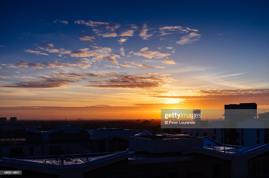 East London Sunrise : Stockfoto