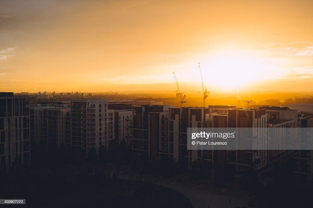 East London sunset : Stock-Foto