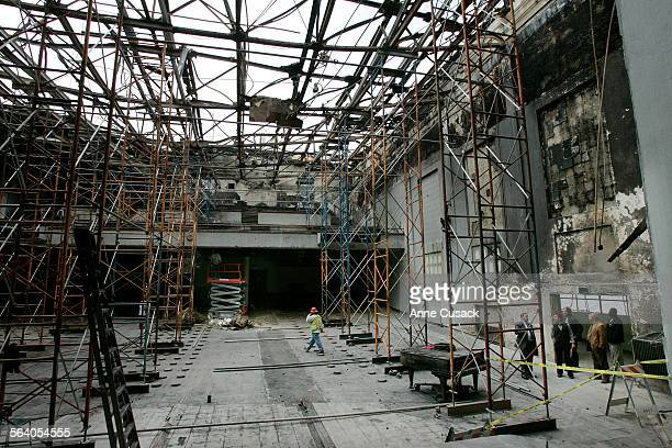East Los Angeles Work has begun at cleaning up the Garfield High School High School auditorium Facilities managers view the damage as crews removed...