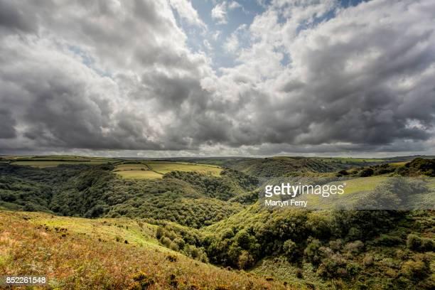east lyn valley, countisbury, exmoor national park, devon, uk - exmoor national park - fotografias e filmes do acervo