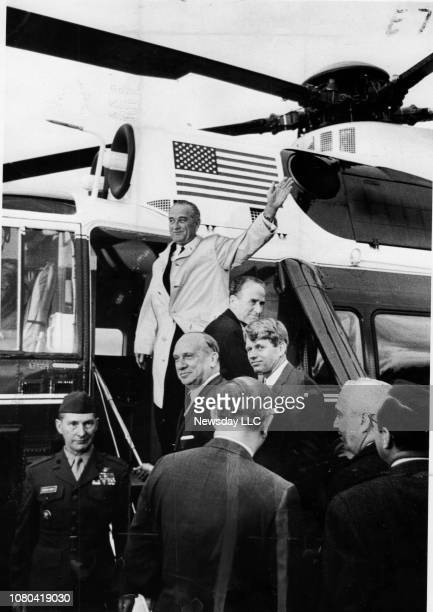 President Lyndon Johnson waves to crowd as he boards a helicopter after his Long Island rally at Salisbury Park in East Meadow New York on October 12...