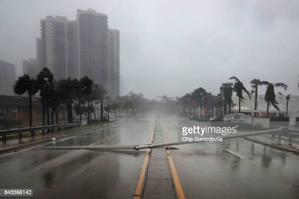 East Oakland Park Boulevard is completely blocked by a downed street light pole as Hurricane Irma hits the southern part of the state September 10...