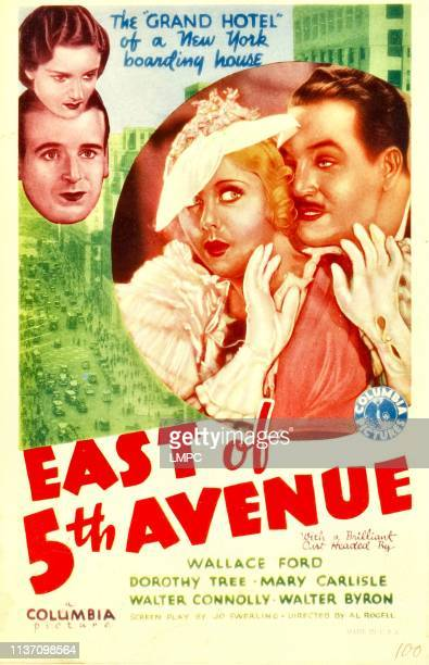 East Of 5th Avenue poster left from top Dorothy Tree Wallace Ford inset from left Mary Carlisle Walter Connolly on midget window card 1933