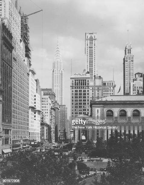 East on 42nd Street showing New York Public Library and Chrysler Building New York New York 1929