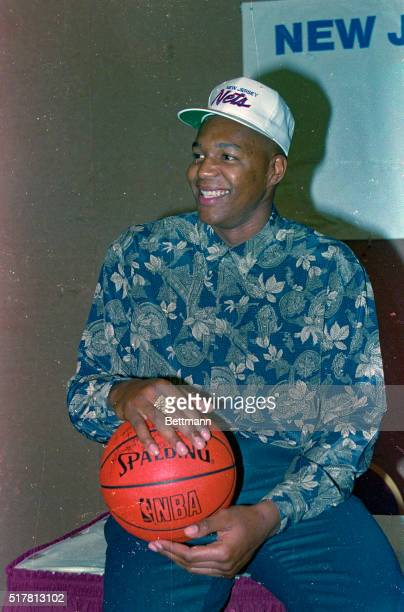 Derrick Coleman is all smiles after signing a five year three million dollar per year deal with the New Jersey Nets Coleman was selected first in the...