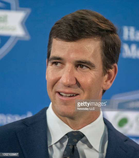 East Rutherford, N.J.: New York Giants quarterback Eli Manning at his retirement press conference at the field house at Metlife Stadium in East...