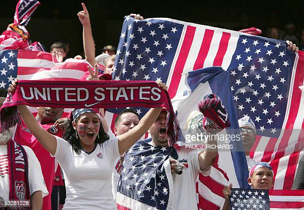 US fans cheer prior to the CONCACAF Gold Cup final against Panama 24 July 2005 at Giants Stadium in East Rutherford NJ AFP PHOTO/Paul J RICHARDS