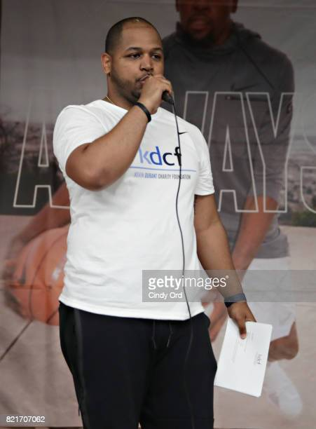 East Side Community School Dean Chris Osorio speaks during the KD Build It and They Will Ball court ceremony on July 24 2017 in New York City