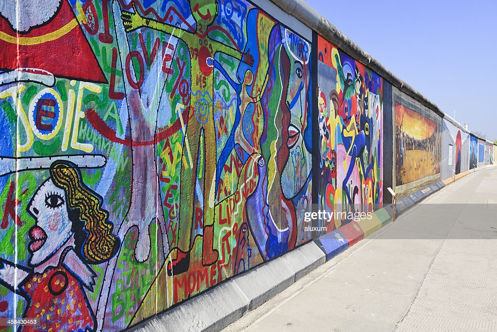 East Side Gallery wall of Berlin Germany : Stock Photo