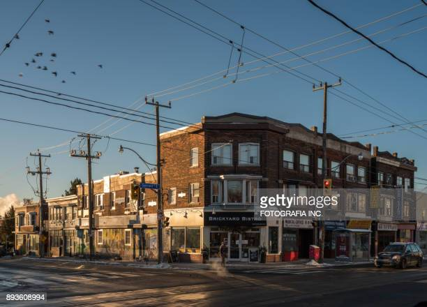 east side intersection - east stock pictures, royalty-free photos & images