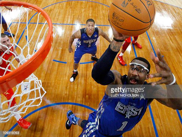 East Team's Amar'e Stoudemire of the New York Knicks goes up for a dunk during the NBA AllStar Game on February 20 part of NBA AllStar Weekend at the...