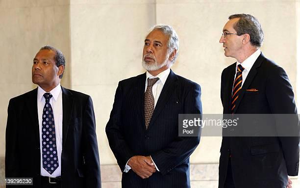 East Timor Australian Ambassdor Abel Guterres East Timorese Prime Minister Xanana Gusmao Director of Veterans' Affairs Darren Mitchell during a visit...