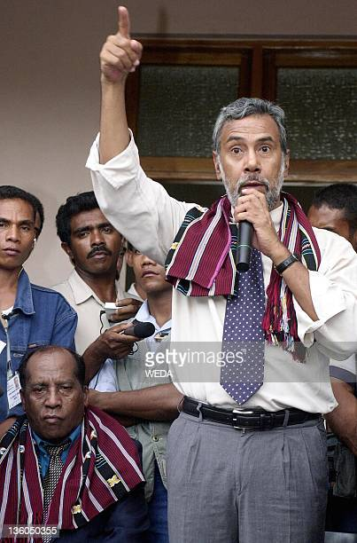 East Timor independence hero Xanana Gusmao gestures as he speaks to East Timorese students shortly after a debate with another presidential candidate...