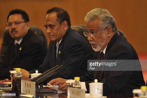 East Timor Prime Minister Xanana Gusmao participates in talks hosted by Chinese President Xi Jinping at the Great Hall of the People April 8 2014 in...