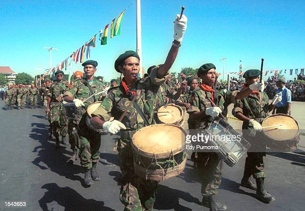 East Timorese Defence Force march in a parade during independence celebration May 20 2002 in Dili East Timor The new nation continues to celebrate...