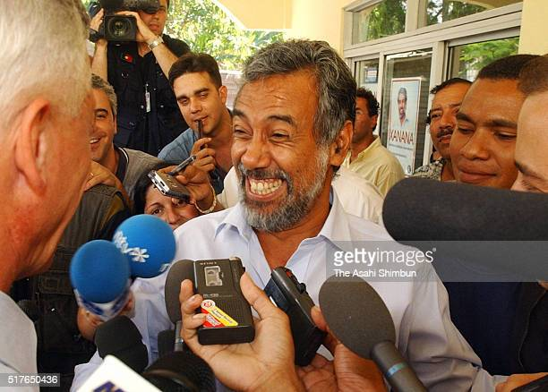 East Timorese independence leader Xanana Gusmao smiles as he is elected as the first ever president of East Timor on April 17 2002 in Dili East Timor