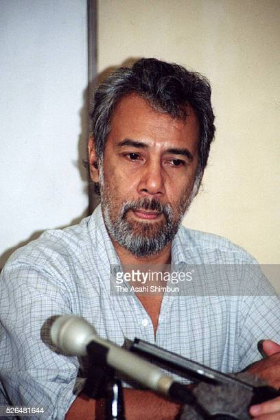 East Timorese Independence Leader Xanana Gusmao speaks to media reporters on April 20 2001 in Dili East Timor