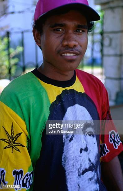 East Timorese man wearing Bob Marley t-shirt.