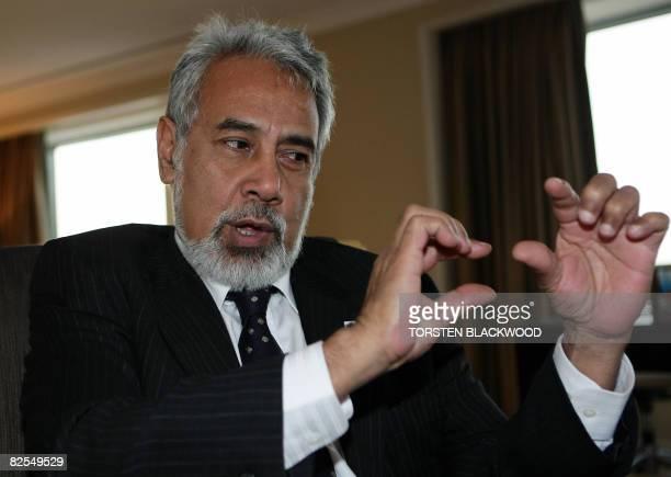 East Timorese President Xanana Gusmao gestures while discussing the state of his tiny nation during a stay in Sydney on August 26 2008 Gusmao is in...