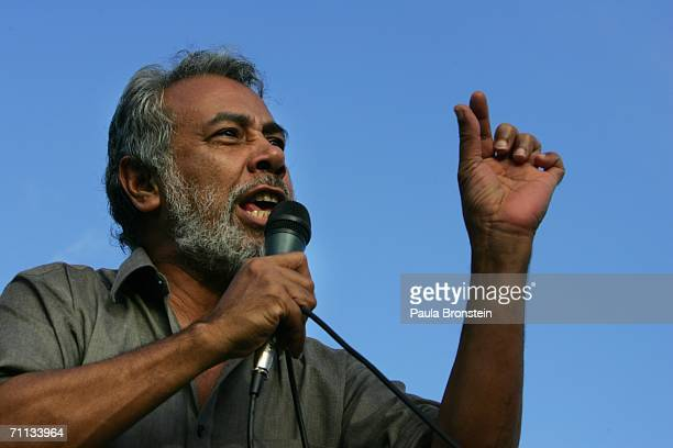 East Timorese President Xanana Gusmao speaks to protesters who have come to the capitol city to try and oust Prime Minister Alkatiri June 6 2006 in...