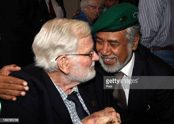 East Timorese Prime Minister Xanana Gusmao with a WWII veteran during a visit to the Anzac War Memorial on February 19 2012 in Sydney Australia Mr...