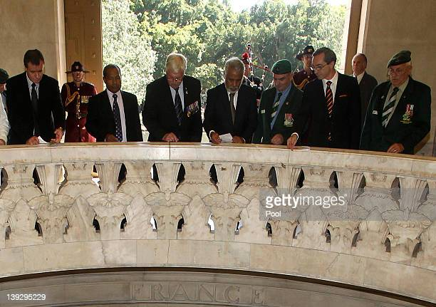 East Timorese Prime Minister Xanana Gusmao with guests during a visit to the Anzac War Memorial on February 19 2012 in Sydney Australia Mr Gusmao...