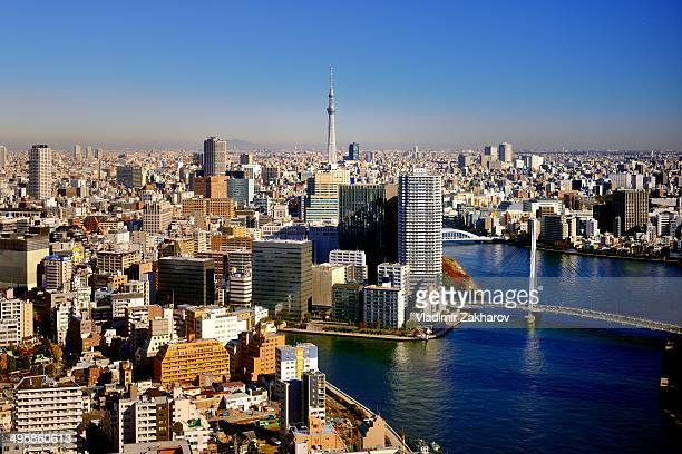 East Tokyo, Chue district including Sumida River and Tokyo Sky Tree at the background