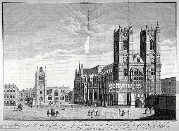 East view of Westminster Abbey and St Margaret's Church London c1720 In the foreground two figures can be seen carrying a sedan chair