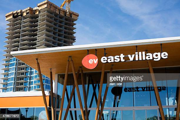 east village construction, calgary - east village stock pictures, royalty-free photos & images
