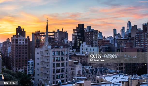 east village sunset skyline - new york - east village stock pictures, royalty-free photos & images