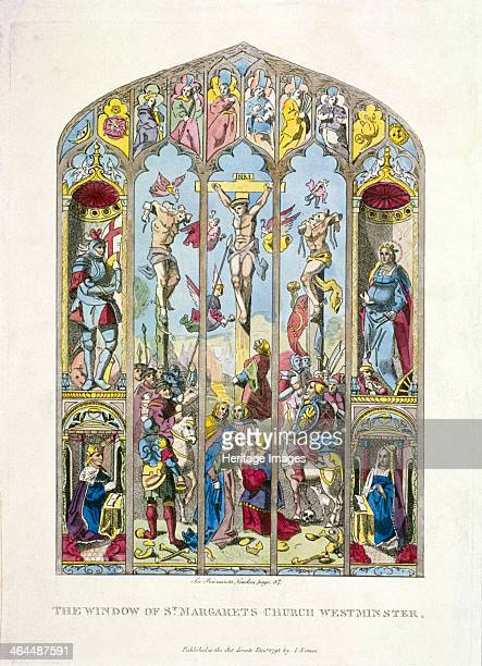 East window in St Margaret Westminster depicting the crucifixion London 1795 To the sides of the main scene are representations of four figures above...