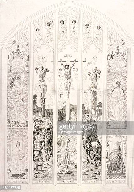 East window in St Margaret Westminster depicting the crucifixion London 1787 To the sides of the main scene are representations of four figures above...