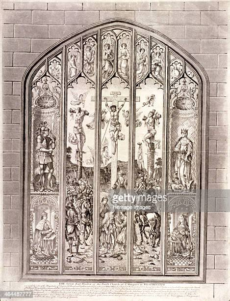 East window in St Margaret Westminster depicting the crucifixion London 1800 To the sides of the main scene are representations of four figures above...