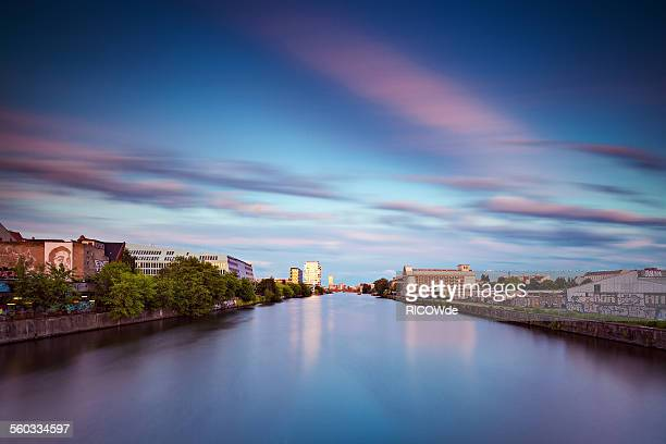 Eastberlin cityscape after sunset