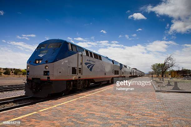eastbound amtrak southwest chief at lamy, new mexico - locomotive stock pictures, royalty-free photos & images