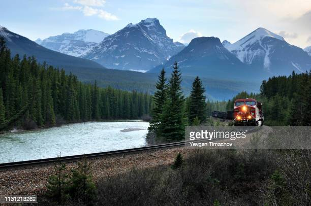 eastbound train and bow range, banff national park, alberta, canada - rail transportation stock pictures, royalty-free photos & images