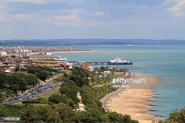 eastbourne from south downs - eastbourne stock pictures, royalty-free photos & images