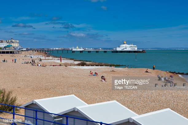 eastbourne pier in east sussex, uk - eastbourne stock pictures, royalty-free photos & images