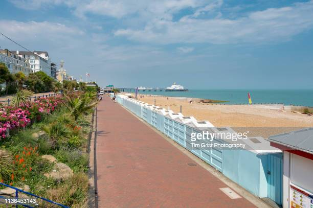eastbourne seafront and eastbourne pier - イーストサセックス ストックフォトと画像