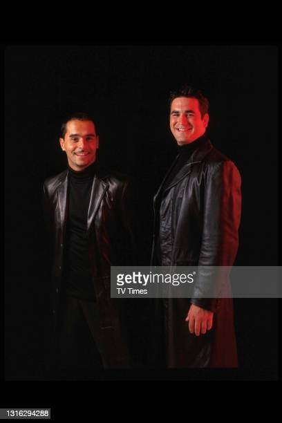 Eastenders actors Michael Greco and Marc Bannerman in character as brothers Beppe and Gianni di Marco, circa 1999.