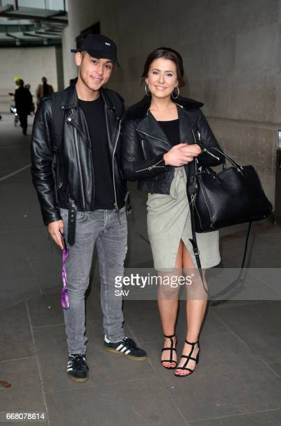Eastenders actors Shaheen Jafargholi and Jasmine Armfield at The BBC on April 13 2017 in London England