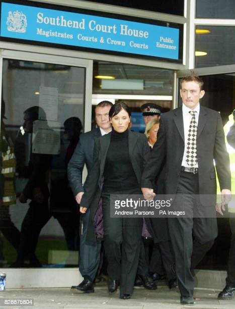 EastEnders actress Jessie Wallace real name Karen Wallace accompanied by her boyfriend David Morgan leaves Southend Magistrates Court after being...