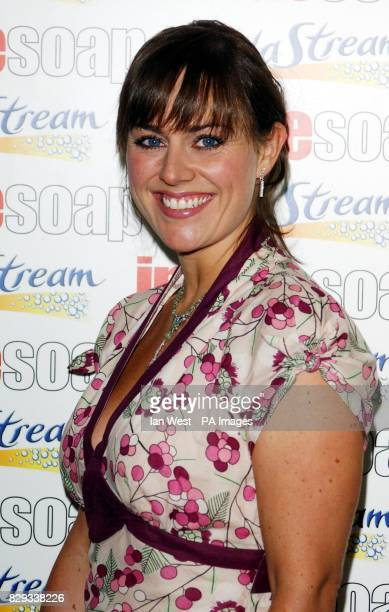 Eastenders actress Jill Halfpenny arrives for the Inside Soap Awards 2004 at the Atlantic Bar on Glasshouse Street in central London