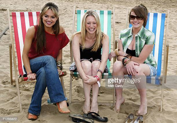 EastEnders actresses Kara Tointon Kelly Shirley Shana Swash poses backstage at T4 On The Beach on June 18 2006 in WestonSuperMare England