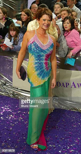 Eastenders soap star Hannah Waterman arrives at the sixth annual 'British Soap Awards 2004' on May 8 2004 at BBC Television Centre in London