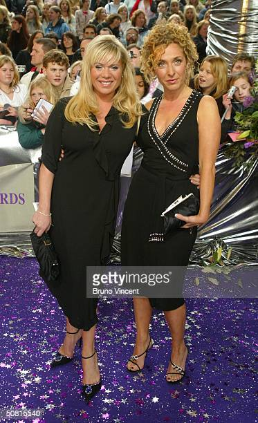 Eastenders soap stars Letitia Dean and Tracy Ann Oberman arrive at the sixth annual 'British Soap Awards 2004' on May 8 2004 at BBC Television Centre...